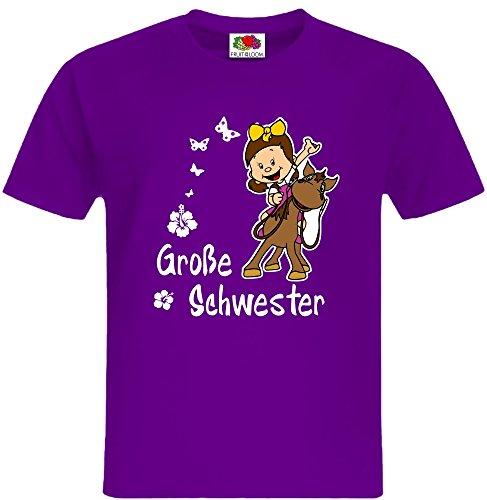 Geschwister T-Shirt Schwester mit vielen schönen Kindermotiven Mädchen zur Auswahl Inkl. Rückendruck Name (Mädchen T-shirt Viele)