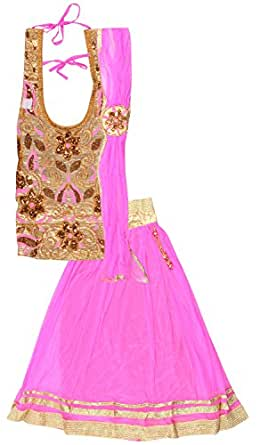 Kid's Stop Girls' Net Lehenga Choli (kist_pinkcopperlehenga-1, Pink, 14-15years)