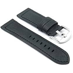 DASSARI Heritage Smooth Padded Leather Watch Band for panerai in Black size 22/20 22mm