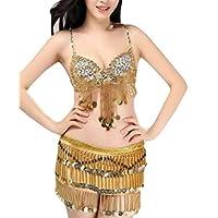 YIhujiuben Women's Belly Dance Hip Scarf Performance Sequins Tassel 2 Piece Outfits Skirt Golden OS