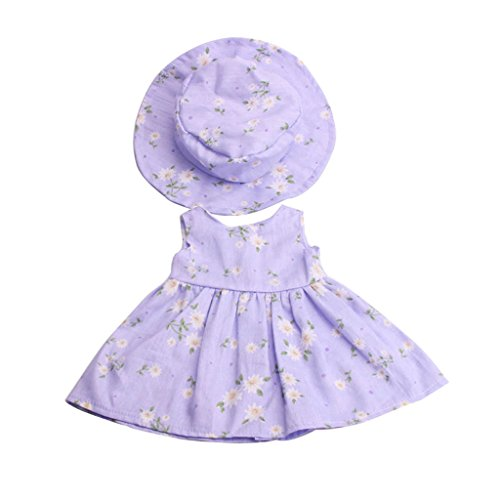 MagiDeal Puppenkleider Blumenkleid & Hut Anzug, Puppe Outfit Für 18 Zoll American Girl Puppe - Lila (Toy Story Bär Kostüm)