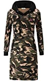 KorMei Damen Langarm Hoodie Bodycon Stretch Sweatshirt Midi Kleider mit 2 Taschen Camouflage XL