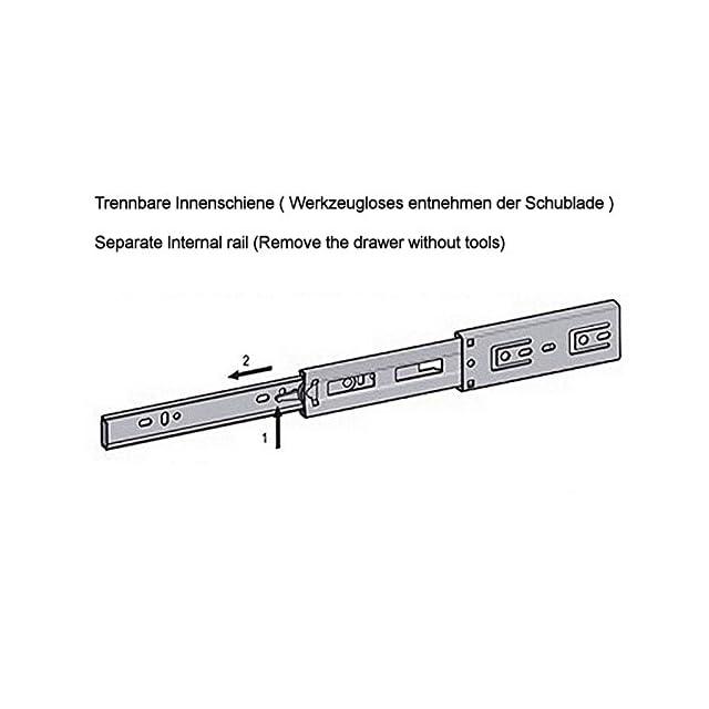 SO-TECH/® Glissi/ères /à Extension Compl/ète avec SoftClosing H 35 L 350 mm Capacit/é de Charge 30 Kg Coulisses de Meuble Rail d/'Armoire 1 Paire 2 Pi/èces