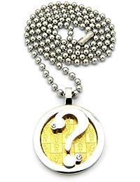 Original collier de ton argent à pendentif de point d'interrogation dans un cercle de ton or marqué de signes masculins, chaîne à balles en acier inoxydable l.3 mm L.61 cm