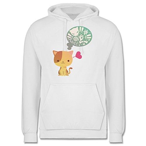 Katzen - Süße Katze Mordlust - Männer Premium Kapuzenpullover / Hoodie Weiß