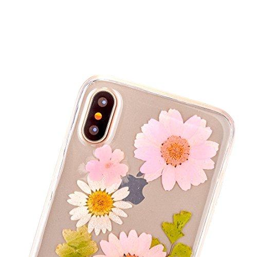Mobiltelefonhülle - Für iPhone X Epoxy Tropf gepresst Echte Getrocknete Blume Weiche Transparente Schutzhülle ( SKU : Ip8g0985c ) Ip8g0985b