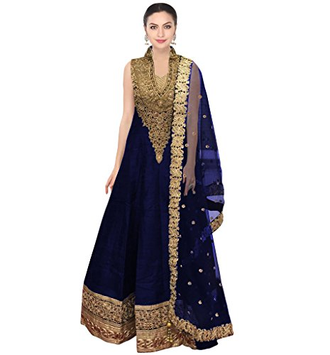Ramdev Emperio Blue Color Fancy & Beautiful Embroidred Raw Silk & Net Semi_Stiched Dress For Women (Wedding Special)
