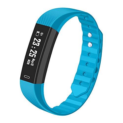 Hongtianyuan Fitness-Tracker, Herzfrequenz-Monitor, Überwachung der Aktivitäten, Farb-Monitor, intelligente Schrittzähler für Android und iOS 230 * 16.10 * 10.09mm blau