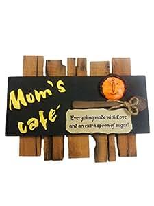 Karigaari MDF Mom's Cafe Kitchen Wood Name Plate (32.99 cm x 3.99 cm x 26.01 cm)