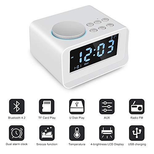 ZED- Schreibtisch Bedside Dual Clock Radio Bluetooth 4.2 Aux-Eingang/TF-Karte/U-Disk-Lautsprecher Wecker Stromversorgung Innenthermometer Ladestation mit LED-Anzeige