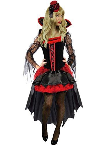 Yummy Bee - Böse Königin Vampir Kostüm Damen + Hut Handschuhe Plus Größe 34-46 (40-42) (Mardi Gra Kostüme Plus Größe)