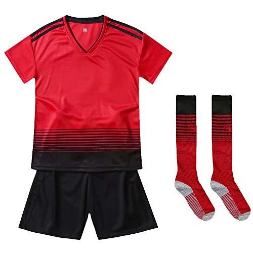 Sikayee Mädchen Teamtrikots 2018-2019 Heim & Auswärts Shorts und Socken Fußball Kit Set für Kinder, Manchester United FC Rot, Tag 28 - United Auswärts Manchester