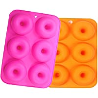 6 cavidades Molde de silicona Juego de 2, FLYING_WE Non-Stick Full-Sized Safe Baking Tray Maker Baking Pan for Cake Biscuit Bagels Muffins- Heat Resistance.
