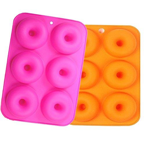 6-Hohlraum Silikon Donut Formen Satz von 2? FLYING_WE Non-Stick Full-Sized Safe Backen Tray Maker Backen Pan Für Kuchen Biskuit Bagels Muffins Hitzebeständigkeit. (Backen, Muffin Tray)