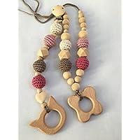 Conjunto de collar de lactancia y porteo y juguete de dentición modelo Natu2 Rosa antiguo..