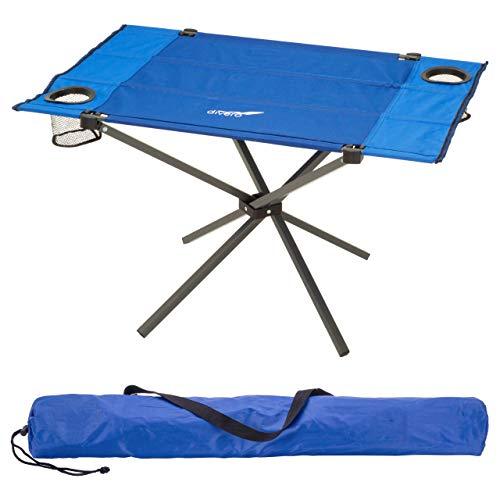 Divero Campingtisch Falt-Tisch faltbar mit Getränkehalter und Transport-Tasche - Polyester Aluminium - Farbe: Rahmen hellgrau - Bespannung blau