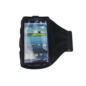Black Mesh Samsung Galaxy S3 i9300 Strong ArmBand Case Cover For SPORTS GYM BIKE CYCLE JOGGING, Tie iPod With Your Arm - Enjoy Music - by KING OF FLASH