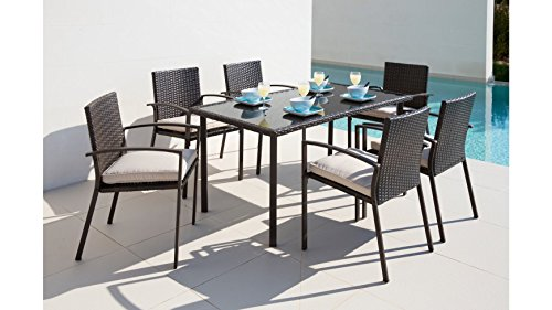 baumarkt direkt 13-tlg. Gartenmöbelset Victoria, 6 Sessel, Tisch 150x80 cm, Polyrattan, braun braun