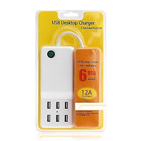 60W 5V/12A 6-port USB Wand Ladegerät Desktop Ladegerät Ladestation für iPhone 7//6S/Plus, iPad Pro/Air 2/Mini/iPod, Galaxy S7/S6/Edge/Plus, Note 5/4, LG, Nexus, HTC und mehr (Erweiterte Sicherheitssystem)