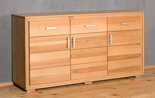 Sideboard Anrichte Genf 3-türig Kernbuche Massivholz geölt/gewachst, Ausführung der Schubladen:mit normalen Auszug -