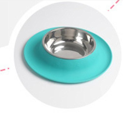 Xinjiener Saugnapf-Silikon-Haustier-Einzelne Anti-streuen Schüssel mit Schüssel-Matte (Blaues L)