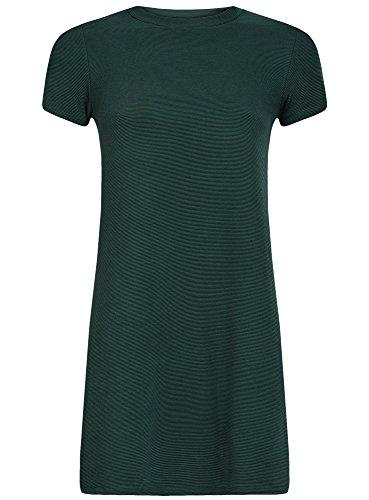 oodji Ultra Femme Robe Ligne A en Maille Côtelée Vert (6900N)