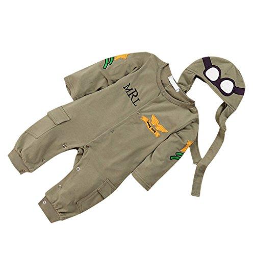 Generic Babystrampler Baby Soldat overall Jumpsuit Strampler langarm kostüm Armee-Grün mit hut - 90