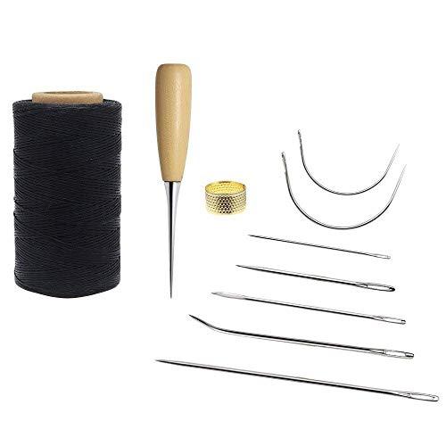 Homgaty Werkzeug für Lederverarbeitung, 10 Teile, 260 m langes Nähgarn und Nähnadeln (schwarz)