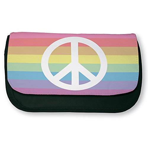 Trousse noire de maquillage ou d'école Peace and love Rainbow (arc en ciel) - Fabriqué en France - Chamalow shop