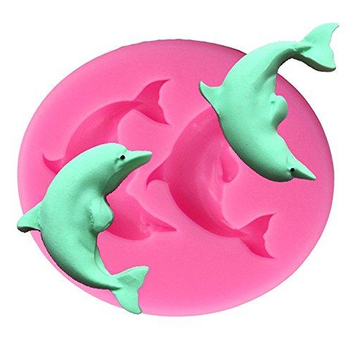 Oyfel Silikonform Delfin Form für Marzipan und Fondant 3D Spitze Effekt Pudding Gelee Delfin-form