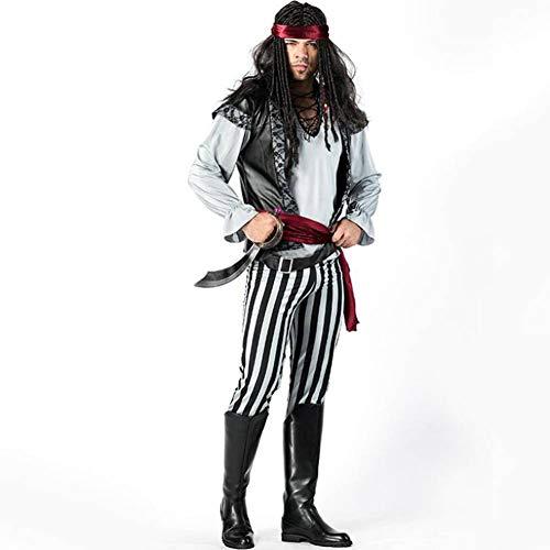 Gestreiften Schwarz Weiß Piraten Und Kostüm - ASDF Gestreiftes Cosplay Piratenkostüm Halloween-Schwarzweiss-männliches Piratenkostüm