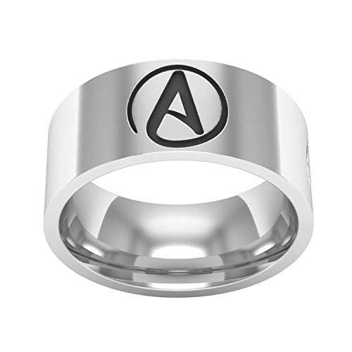 ZMlWToer Schmuck aus Titan Stahl Herren Ring 8mm Skulptur Atheist Verpflichtungs-Zeichen Paar Ringe