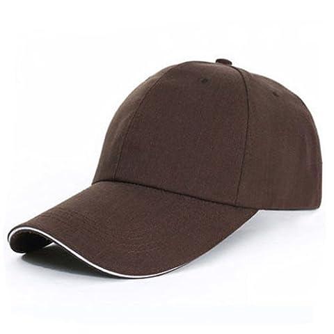 Hommes Femmes Casquettes de baseball Hat Cap Plain Sport solide balle de golf Sun Visor Hat, Marron HNAA