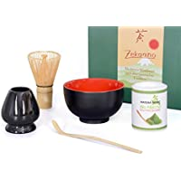 Bio de té Matcha Starter Set 5piezas, MALIKA Negro/Rojo compuesto de té Matcha–Bol, cuchara de té Matcha (y escoba de té Matcha (bambú), elegante caja de regalo. Original Aricola®