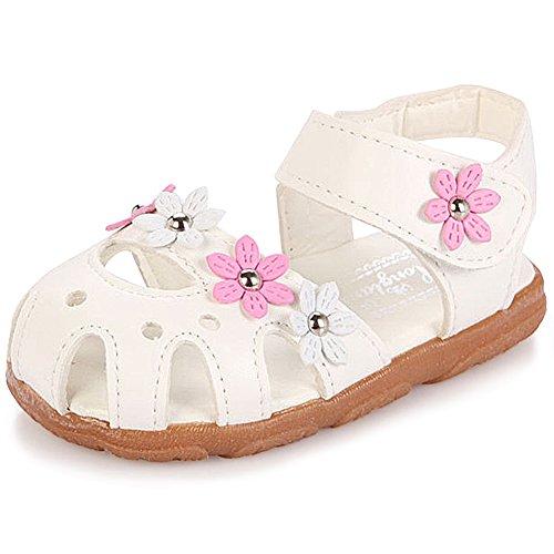 katliu Geschlossene Sandalen Mädchen Lauflernschuhe Klettverschluss Leicht Kinderschuhe Outdoor Weich Sommer Schuhe für Baby Kinder, 25 EU, Weiß (Herstellergröße  27)
