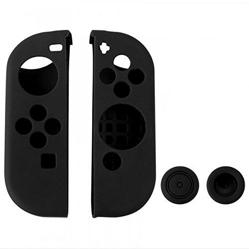 Chickwin Nintendo Switch Silikon Cover Case Gel-Protektoren und 2 Thumb Stick Kappen Protector für Nintendo Switch Joy-Con Controller (Beide Schwarz) (Nintendo 3ds Xl Skin Protector)