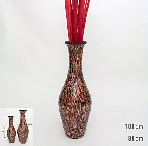Tall Floor Vase With Glass Mosaic 80 Cm, Ceramic, Multicoloured