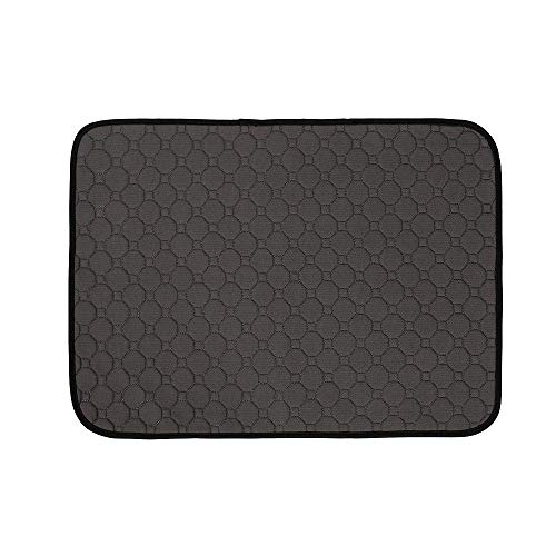 Black Bottom Mat (EUYOUZI Washable Dog Pee Pads with Anti-Skid Bottom, Reusable 4-ply Construction Fast Absorbing Whelping Mats Pet Cat Training Pad for Home, Apartment, Crate and Travel (Black))