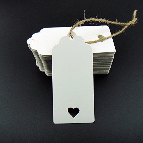 o für Hochzeit für Karten, Geschenkanhänger, DIY Tag, Gepäckanhänger, Preis Label, Store Anhängerschild mit 10m Jute Bindfäden (weiß, 90mm * 40mm mit Herz) ()