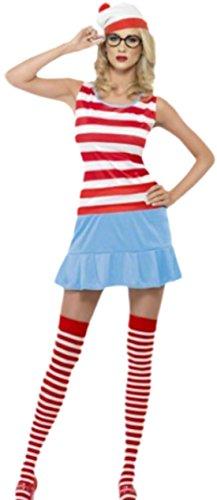 Karnevalsbud - Damen Wanda Cutie Kölner Karneval Kostüm mit Mütze, Brille und Socken, M, Rot