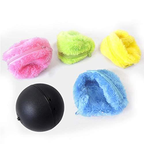 WEIWEITOE Haushaltsreinigungsmittel Aktivierung Ball Haustier Plüschtier Bodenreinigung Katze Hund Welpen Spielzeug Automatische Staubsauger, Rose & gelb & blau & grün,