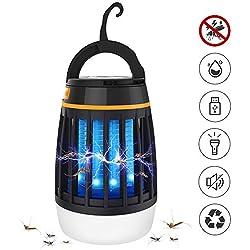 Dkinghome 1 Piège à Fourmis Camping Lanterne Rechargeable Lumière Extrérieur Abeille Tueur Répulsif LED Portable Electrique 3 en 1-Noir, φ8.99cm X 13.5cm Mixte