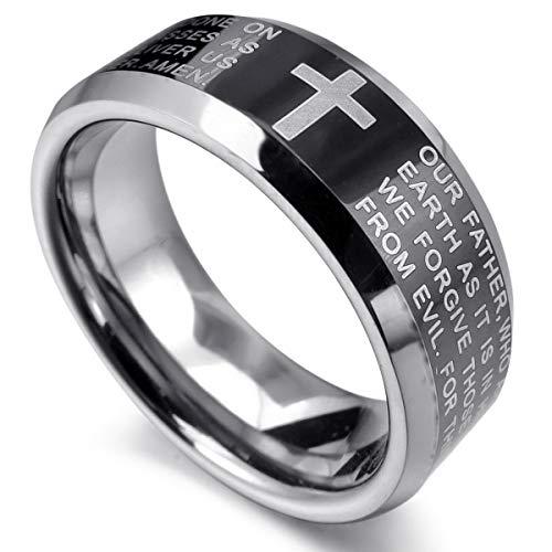 MunkiMix Wolframcarbid Wolfram Ring Band Schwarz Silber Ton Bequeme Passform Kruzifix Kreuz Englisch Bibel Herr Gebet Größe 65 (20.7) Herren