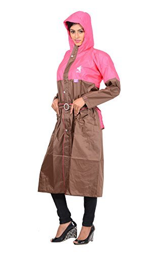 Krystle Women's Polyester Pink Raincoat / Rainsuit / Rainwear (Large)