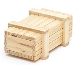 Caja regalo mágica de madera clara - Caja con mecanismo secreto - Rompecabezas - Juego de ingenio - Caja regalo - 10,5 cm x 6,5 cm x 4 cm