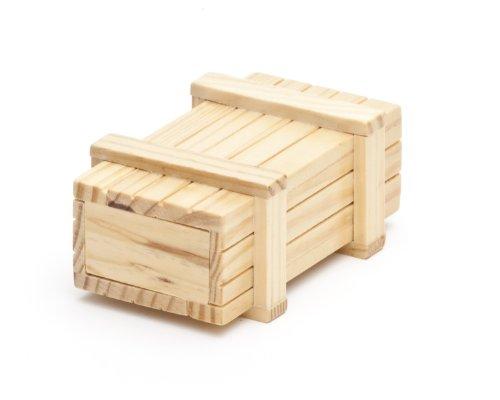 Magische Geschenkbox aus hellem Holz -Trickkiste für Geldgeschenke - Standard-Variante - Knobelspiel - Verpackung für Geschenke - 10,5 cm x 6,5 cm x 4 cm