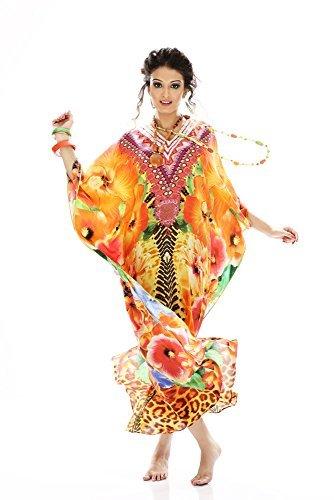 Da donna crespo stampato Turco kaftani caftano beachwear costumi da bagno del bikini Coprire Abito Spiaggia Mantello di D G PRINTS FAB (stile no. 0002)