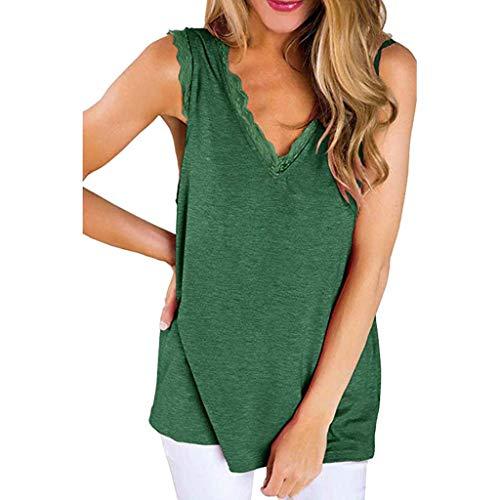 (CAOQAO Damen V-Kragen T-Shirt mit gefaltetem Druck Ärmelloses, festes Bluse Shirt Pullover Tops T-Shirt Casual Bluse (XL,Grün))