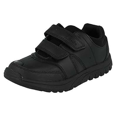 Clarks Jack Spark Junior Boys School Shoes Black Junior 1 H