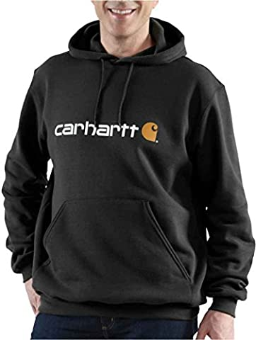 Carhartt .100074.001.S003 Signature Logo Hooded Sweatshirt, Colour: Black, Size: